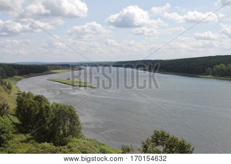 River in Siberia. Beautiful view of the river from the hill.