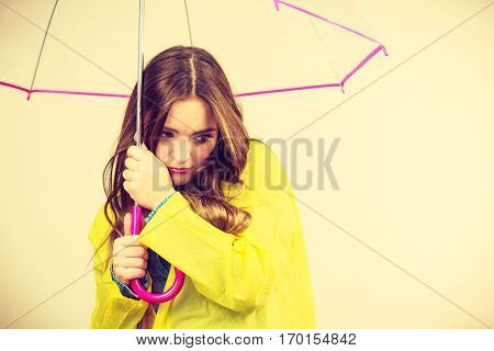 Woman Under Umbrella Looking Sad Unhappy