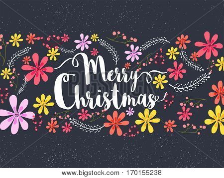 Beautiful Merry Christmas Banner decorated with colorful flowers. Christmas celebrations poster.