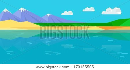 Natural landscape with sea, mountains, sky, clouds, sandy beach. Natural landscape in flat. Mountains landscape, abstract blue panoramic view. Nature background. Vector illustration.