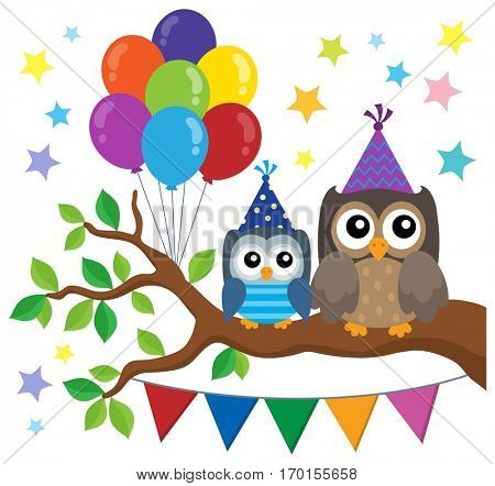 Party owls theme image 1 - eps10 vector illustration.
