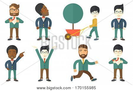 Successful businessman opening jacket like superhero. Successful businessman pointing his forefinger up. Business success concept. Set of vector flat design illustrations isolated on white background.