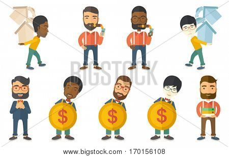Rich businessman lighting a cigar with dollar bill and expressing satisfaction. Wealthy successful businessman smoking a cigar. Set of vector flat design illustrations isolated on white background.