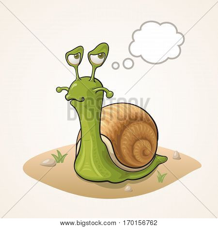 Cute cartoon Snail thinking on the ground