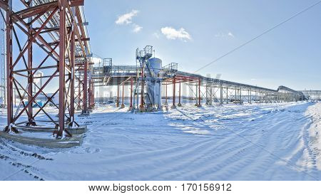big oil plant on a background of blue sky panorama Industry Industry