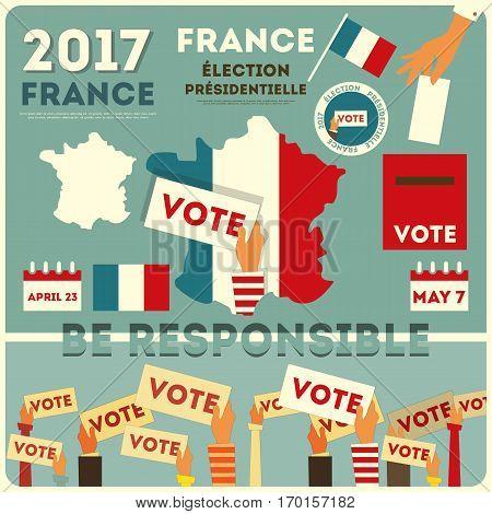 France Presidential Election Voting Card. Vector Illustration.