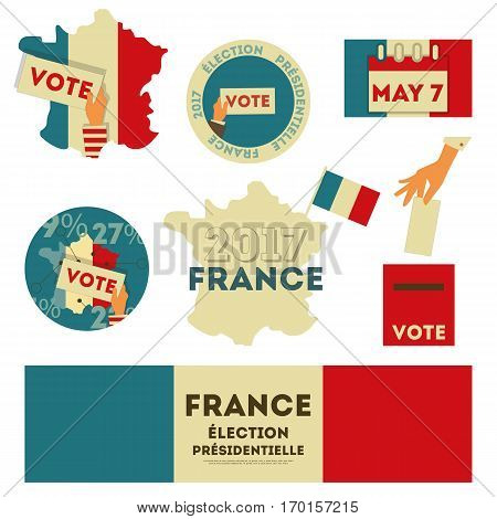 France Presidential Election Voting. Emblems and Stickers Isolated on White Background. Vector Illustration.