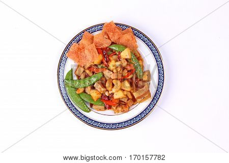 Fried Mixed Fruit And Vegetable With Roasted Chili Plate .