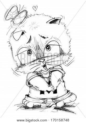 Cat falling in love with butterfiles character design pencil sketch black and white.