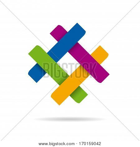 Vector abstract sign concept of synergy and teamwork four colors