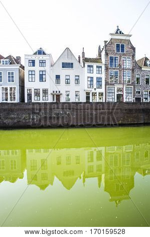 Dutch cityscape with gable houses along a canal