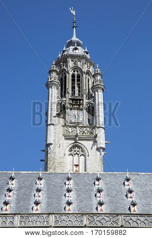 Old medieval townhall of Middelburg with summer blue sky, The Netherlands