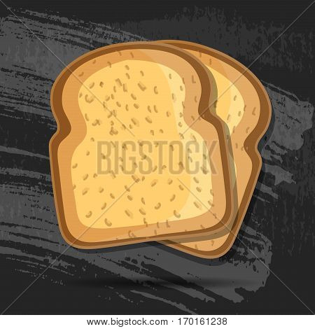 Vector toast isolated on black chalk board. Toast bread vector illustration. Realistic. EPS