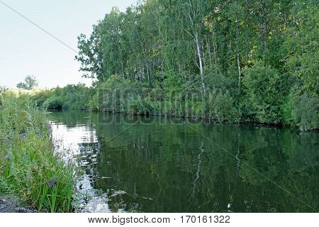 Small river Lebyazhya in Siberia. Beautiful view of the river.