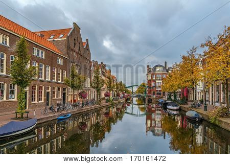 View of New Rhine river in Leiden downtown Netherlands