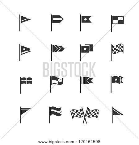 Flags pictograms. Vector start and finish flag icons. Flag for start and finish sport race illustration