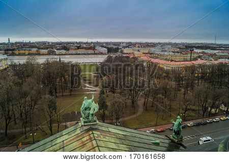 Saint-Petersburg, Russia: view of the city from the colonnade of St. Isaac's Cathedral.