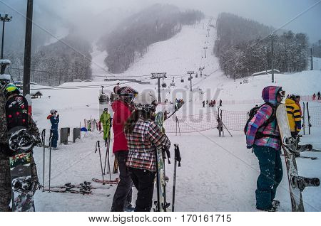 JANUARY, 23, 2016, Krasnaya Polyana, Sochi : Skiers and snowboarders ride on the slopes of Rosa Khutor, Krasnaya Polyana, Sochi ,Russia.