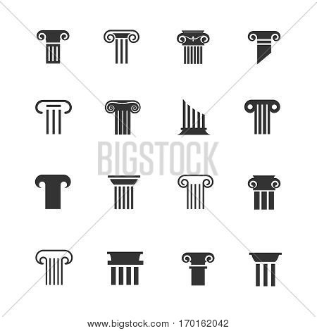 Ancient greek and roman column icons. Architectural pillar vector black and white signs. Classical column set illustration