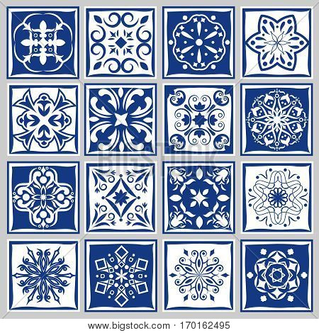 Tile patterns with flowers for bath or kitchen. Floral tiles motif in moroccan or spanish style. Set of tiles for floor and wall illustration