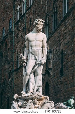 Fountain Neptune In Piazza Della Signoria In Florence