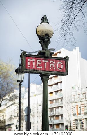 Metro sign for subway transportation in Paris France
