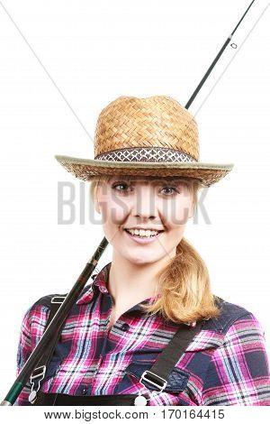 Happy Woman In Sun Hat Holding Fishing Rod