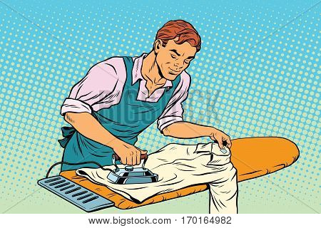 Vintage employee ironed clothes. pop art retro vector illustration. Homework and service in the hotel