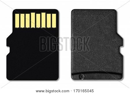 Micro SD card or Memory card isolated on white background with clipping path.