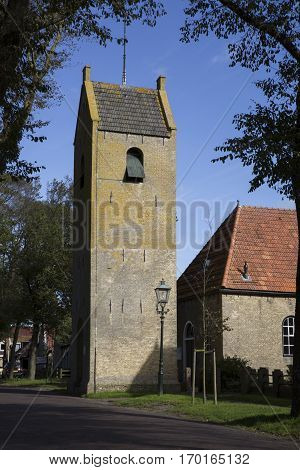 Old church tower of Ballum is a village located on the Frisian Island Ameland Friesland The Netherlands