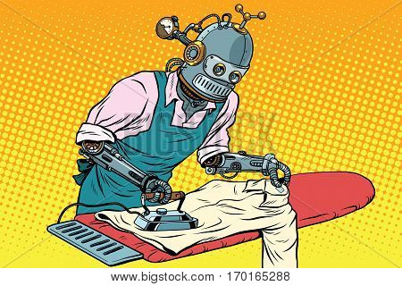 Vintage robot employee ironed clothes. pop art retro vector illustration. Homework and service in the hotel