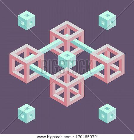 Isometric geometric shape pastel pink and blue retro illustration.