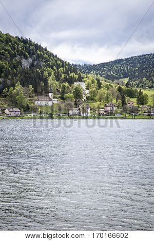 View on Joux lake -lac de Joux and the Jura mountains Le Pont Switzerland