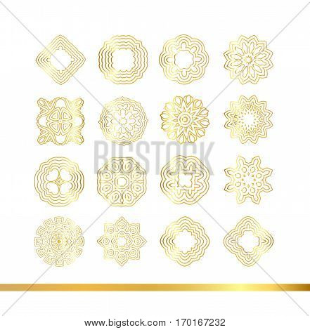 Golden Mandala Set. Gold  Pattern Isolated On Background.