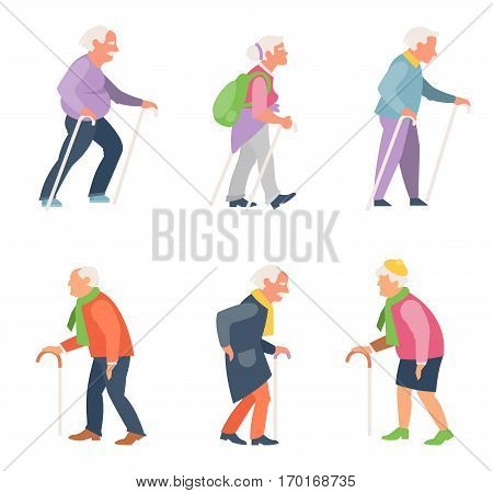 Nordic walking. Set of older people in flat style. Old people travelers with canes.