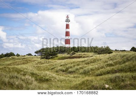 view of the Ameland Lighthouse known as Bornrif is a lighthouse on the Dutch island Ameland one of the Frisian Islands on the edge of the North Sea The Netherlands
