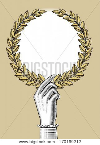 Woman's hand holding a laurel wreath. Winner sign and banner. Vintage engraving stylized drawing