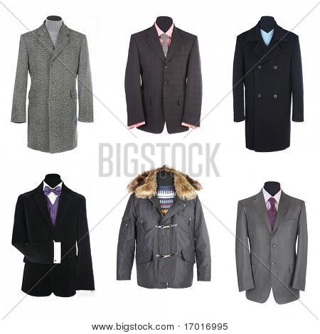 Different man's suits on a white background