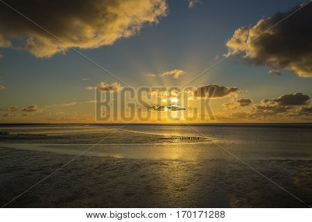 Maritime landscape at sunset with reflection of clouds in low tide water Waddenzee Friesland The Netherlands