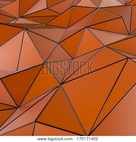 Abstract polygonal red with black metall enges background. 3d rendering