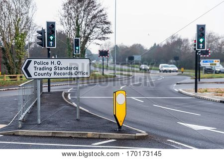 Police Head Quarters, Trading Standards And County Records Office Sign Over Uk Motorway