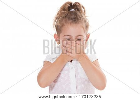 Young girl smells something awful