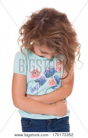 Young girl suffers from stomachache