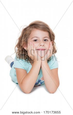 Young girl on white background