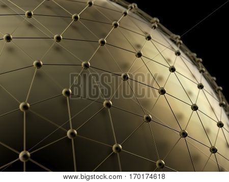 Abstract technological gold net background. 3d rendering