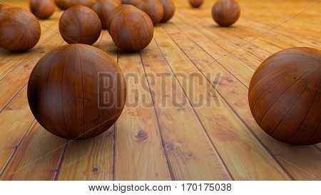 Fantasy realistic wood balls on a realistic wood floor. Depth of field settings. 3D rendering.