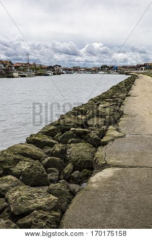 Jetty and seaside, Gujan Mestras,  Bassin d'Arcachon, Gironde, France