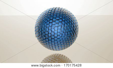 3D abstract advanced technology background. Sphere formed by glossy cubes. 3D rendering.