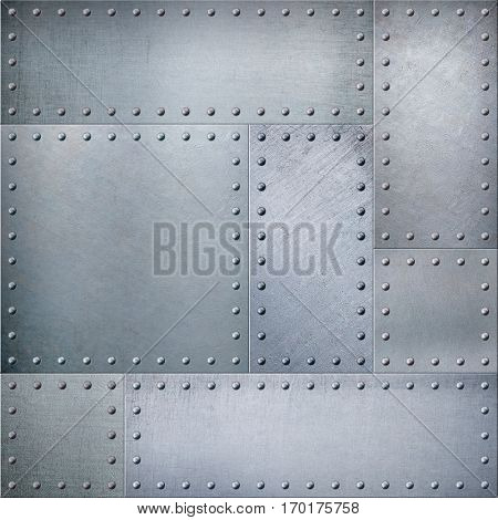 Metal plates with rivets steam punk background or texture