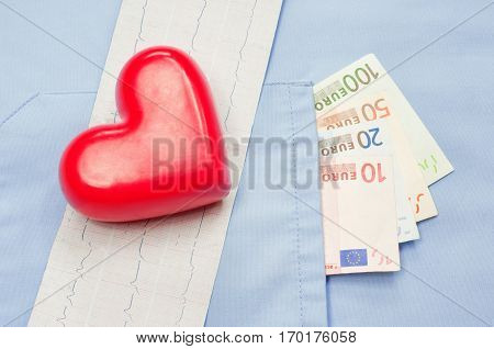 Money in the pocket of a medical uniform, heart and electrocardiogram. Cost of medical service concept